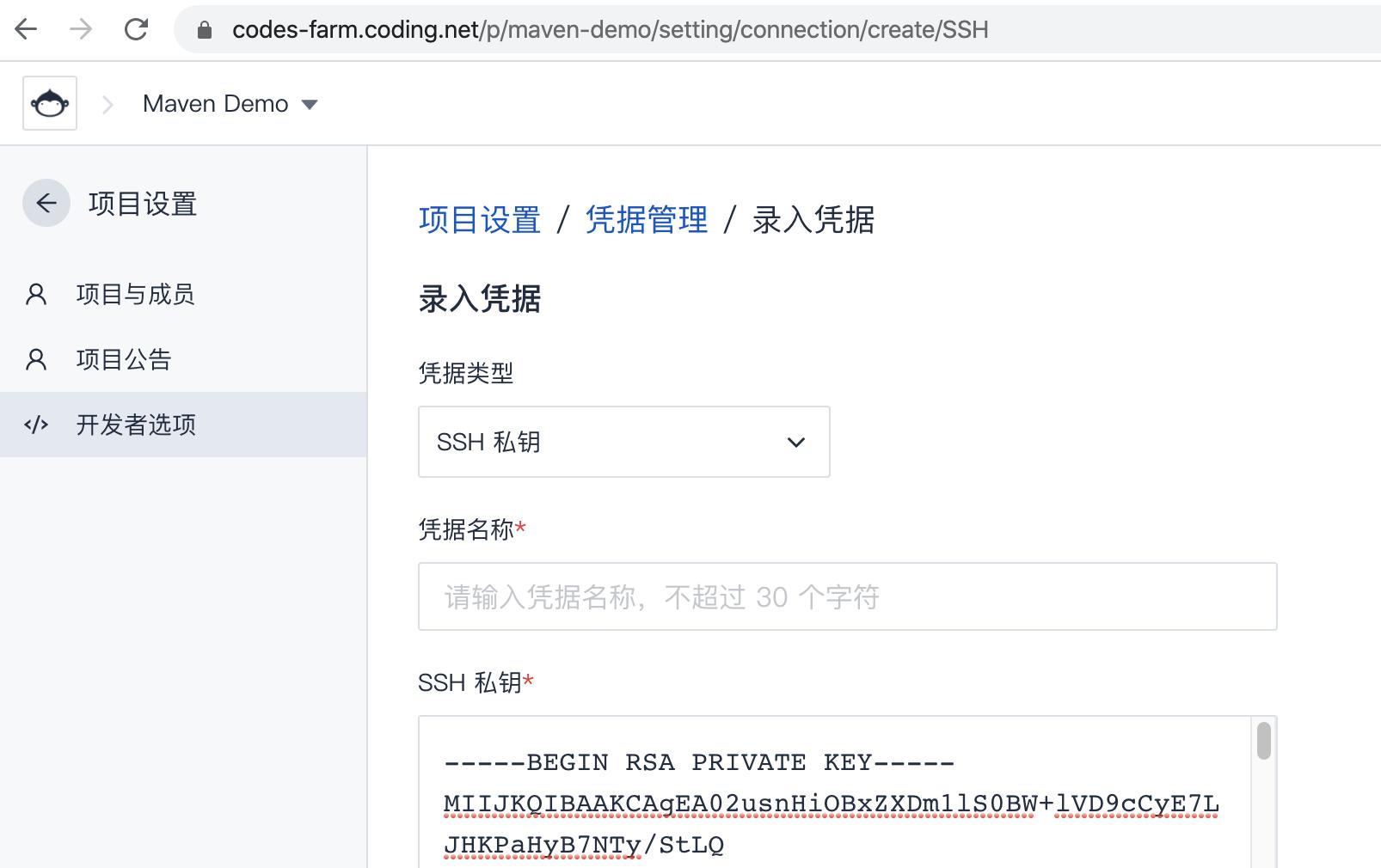 CODING 凭据管理 录入 SSH 私钥